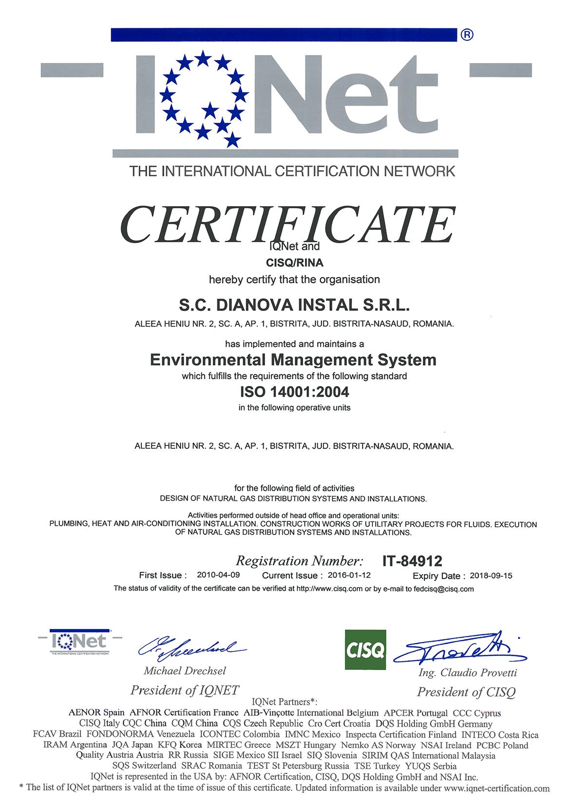 DIANOVA INSTAL – QMS+EMS+OHSAS – CERTIFICATES – IQNET-2