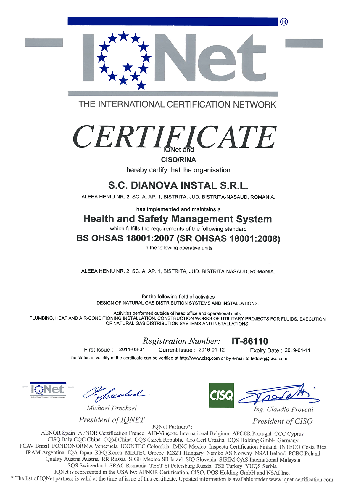 DIANOVA INSTAL – QMS+EMS+OHSAS – CERTIFICATES – IQNET-3