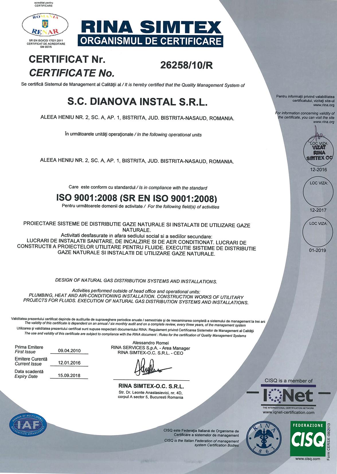 DIANOVA INSTAL – QMS+EMS+OHSAS – CERTIFICATES – RENAR-1